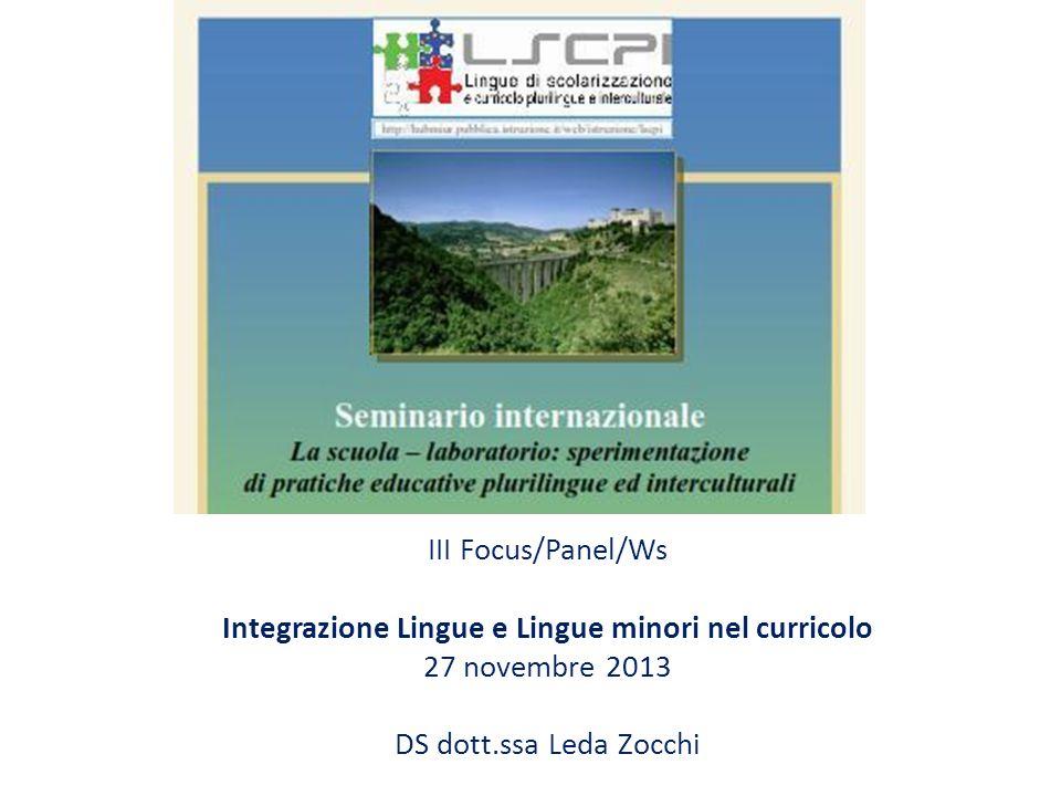 Integrazione Lingue e Lingue minori nel curricolo