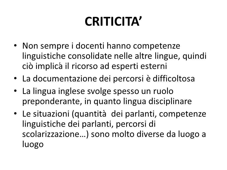 CRITICITA' Non sempre i docenti hanno competenze linguistiche consolidate nelle altre lingue, quindi ciò implica il ricorso ad esperti esterni.