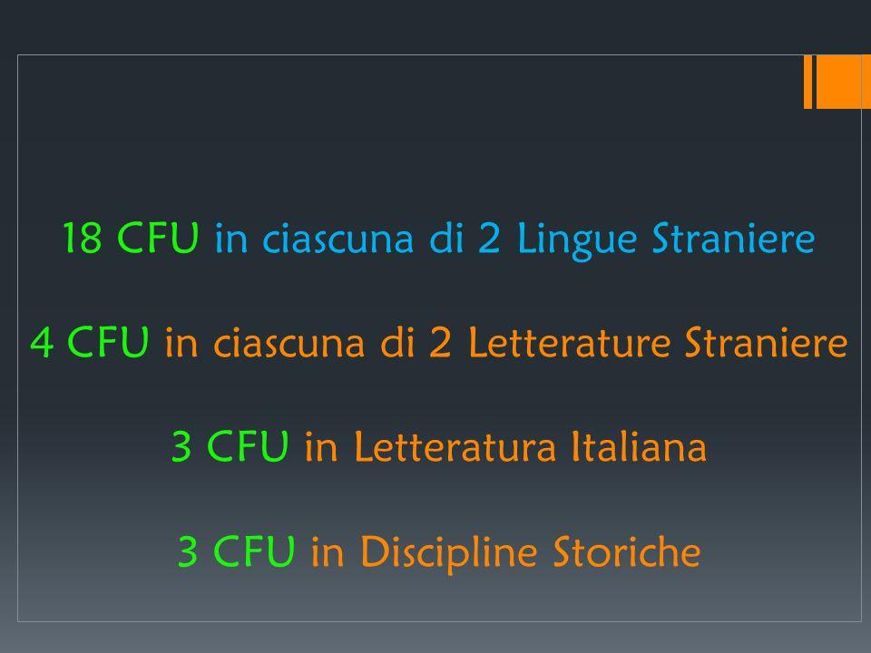 18 CFU in ciascuna di 2 Lingue Straniere 4 CFU in ciascuna di 2 Letterature Straniere 3 CFU in Letteratura Italiana 3 CFU in Discipline Storiche