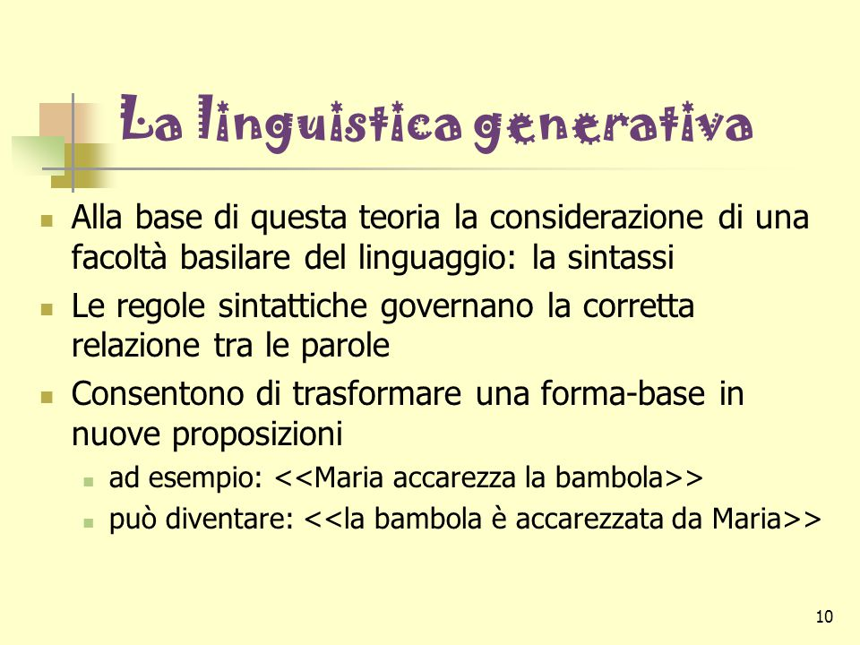 La linguistica generativa