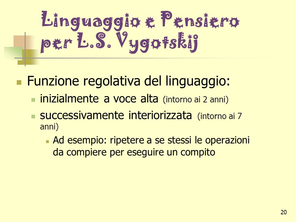 Linguaggio e Pensiero per L.S. Vygotskij