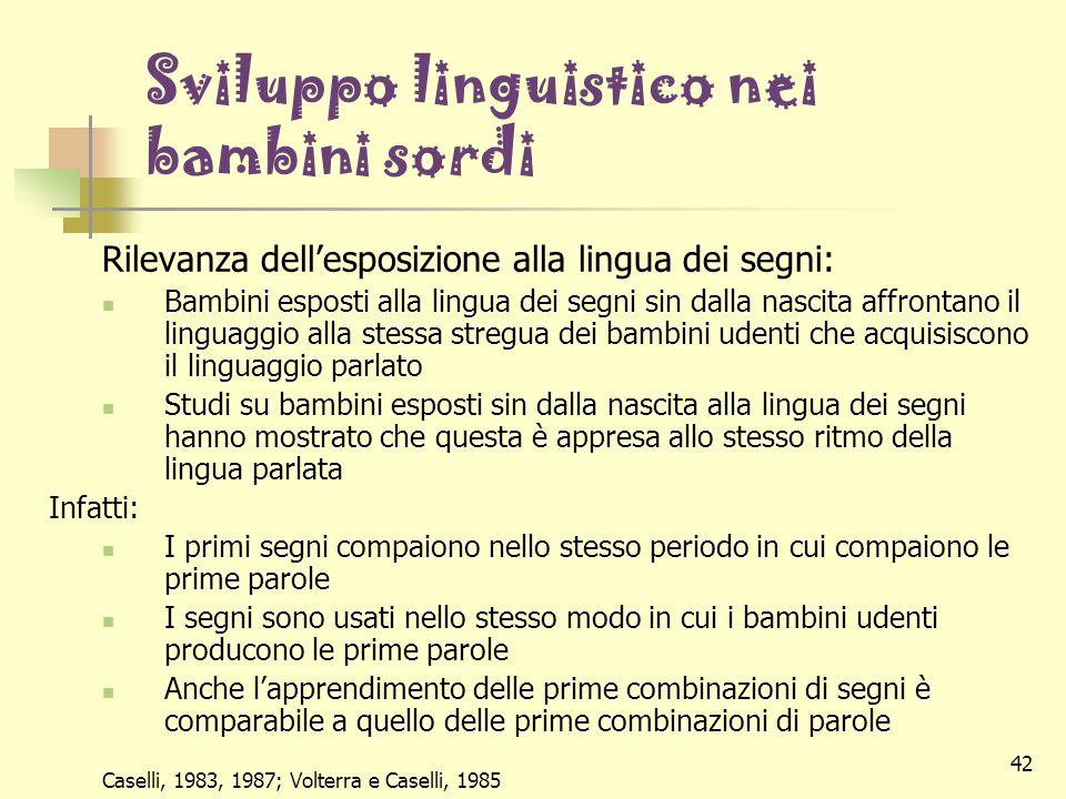 Sviluppo linguistico nei bambini sordi