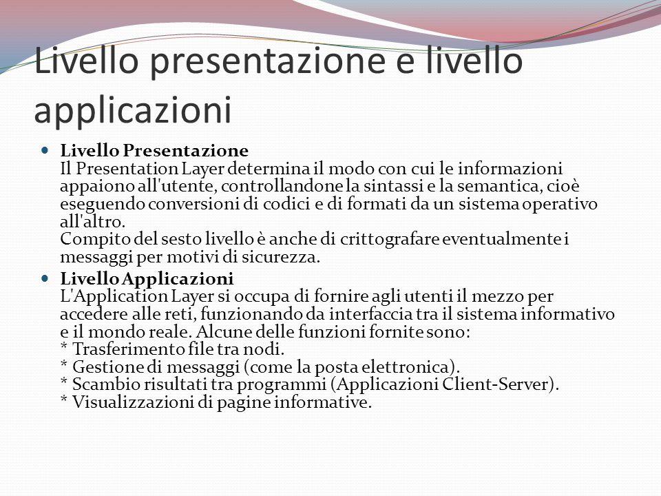 Livello presentazione e livello applicazioni