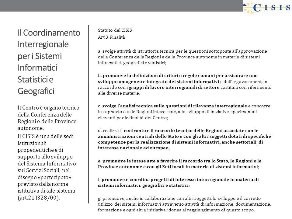 Il Coordinamento Interregionale per i Sistemi Informatici Statistici e Geografici