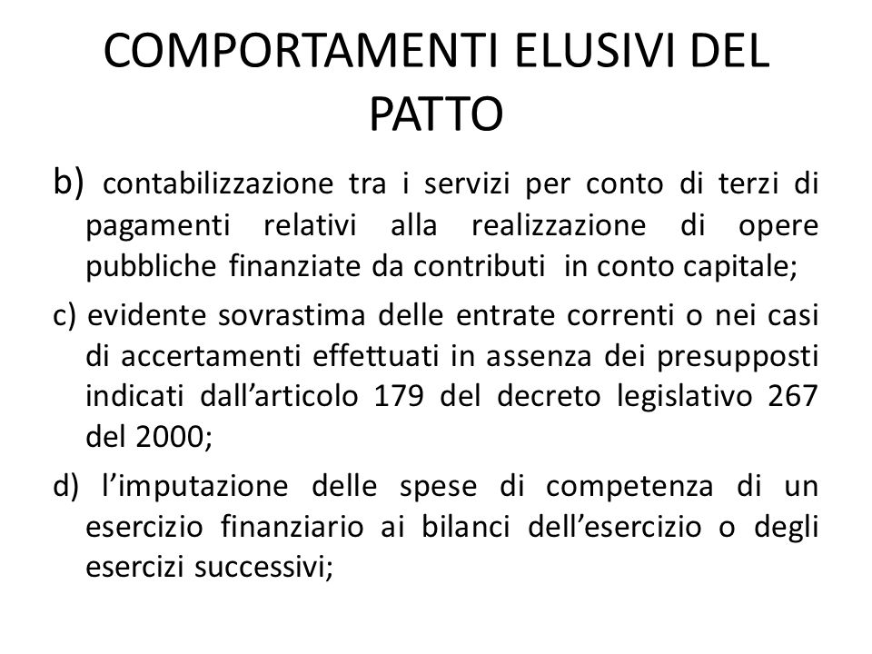 COMPORTAMENTI ELUSIVI DEL PATTO