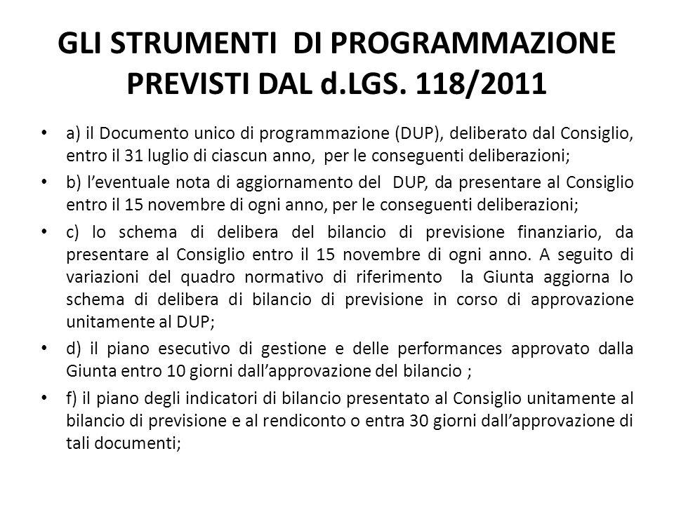 GLI STRUMENTI DI PROGRAMMAZIONE PREVISTI DAL d.LGS. 118/2011