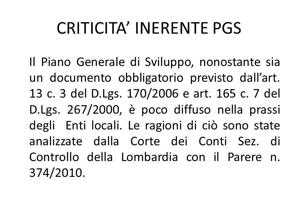 CRITICITA' INERENTE PGS