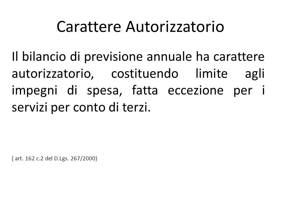 Carattere Autorizzatorio