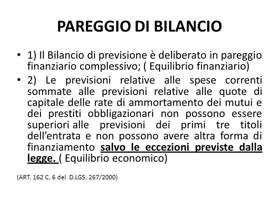 PAREGGIO DI BILANCIO 1) Il Bilancio di previsione è deliberato in pareggio finanziario complessivo; ( Equilibrio finanziario)