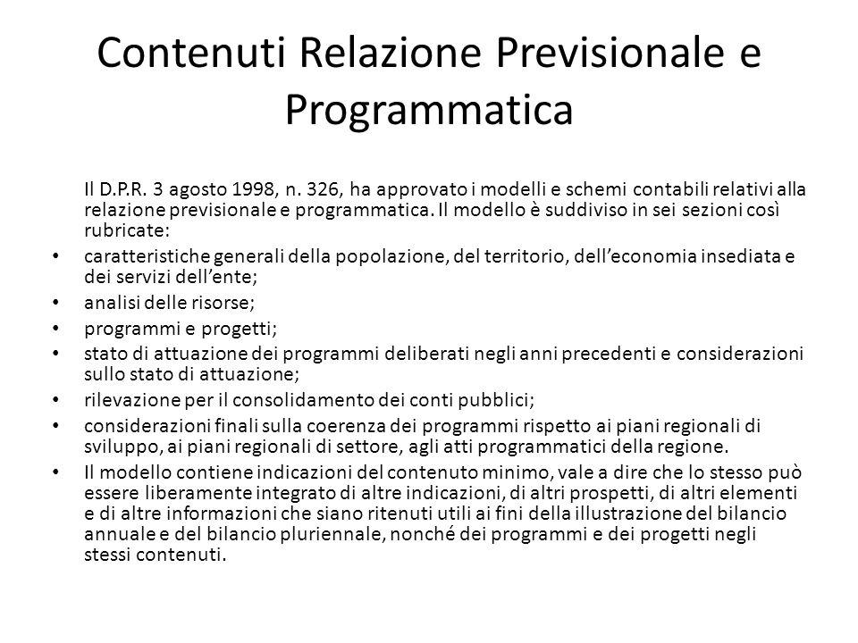 Contenuti Relazione Previsionale e Programmatica