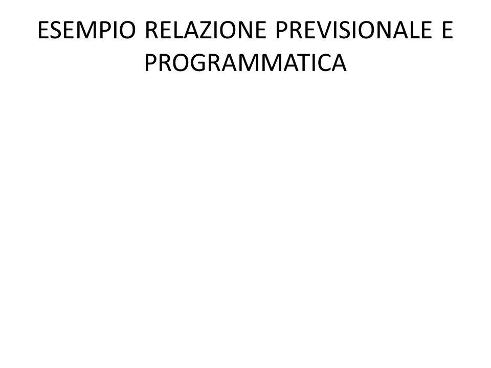 ESEMPIO RELAZIONE PREVISIONALE E PROGRAMMATICA