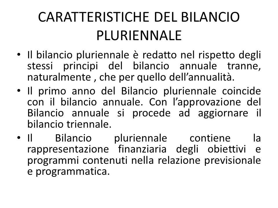 CARATTERISTICHE DEL BILANCIO PLURIENNALE