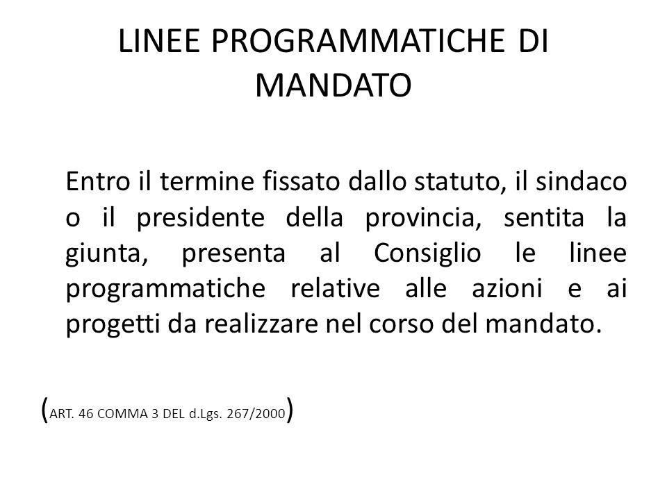 LINEE PROGRAMMATICHE DI MANDATO