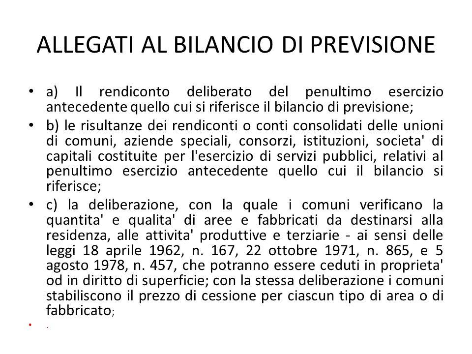 ALLEGATI AL BILANCIO DI PREVISIONE