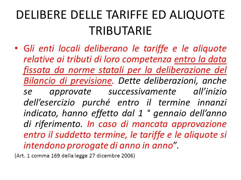 DELIBERE DELLE TARIFFE ED ALIQUOTE TRIBUTARIE