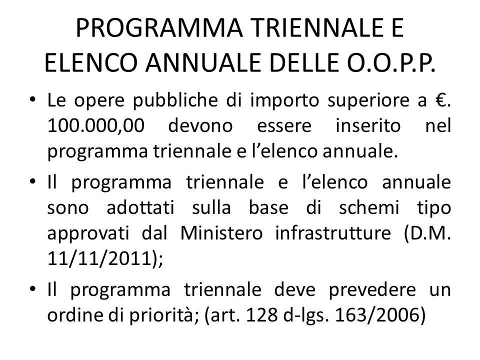 PROGRAMMA TRIENNALE E ELENCO ANNUALE DELLE O.O.P.P.