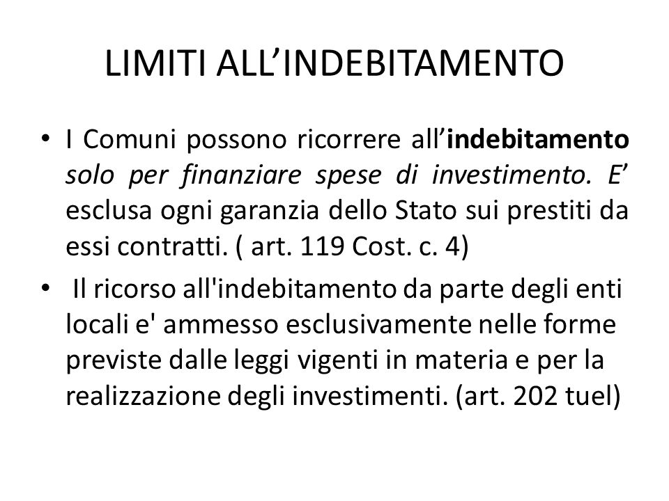LIMITI ALL'INDEBITAMENTO