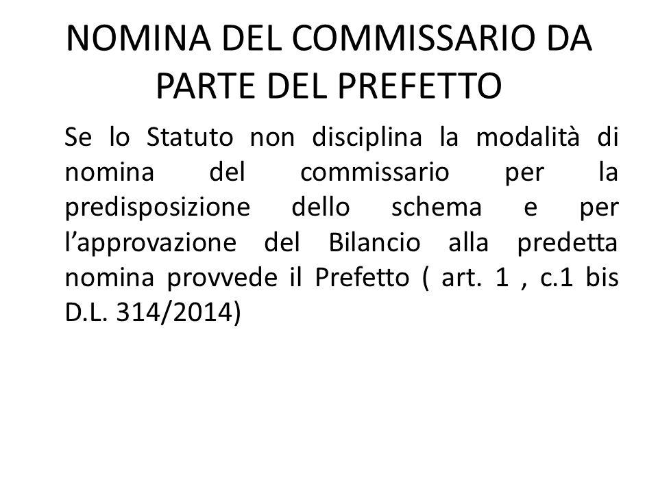 NOMINA DEL COMMISSARIO DA PARTE DEL PREFETTO
