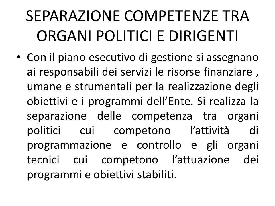 SEPARAZIONE COMPETENZE TRA ORGANI POLITICI E DIRIGENTI
