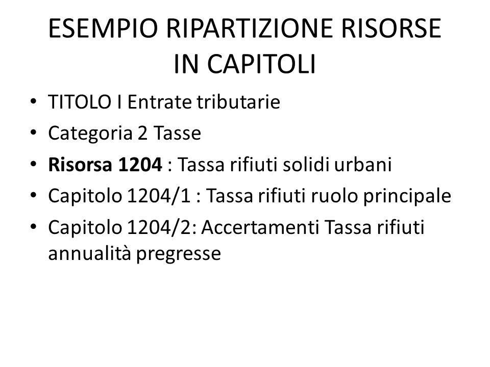 ESEMPIO RIPARTIZIONE RISORSE IN CAPITOLI
