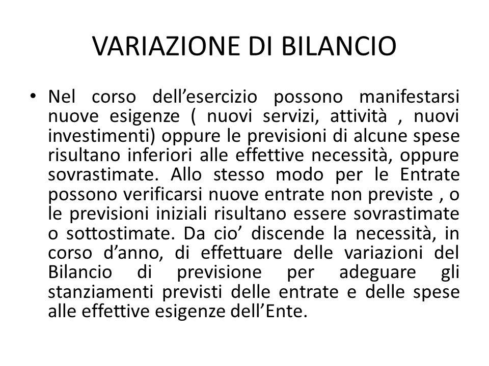 VARIAZIONE DI BILANCIO