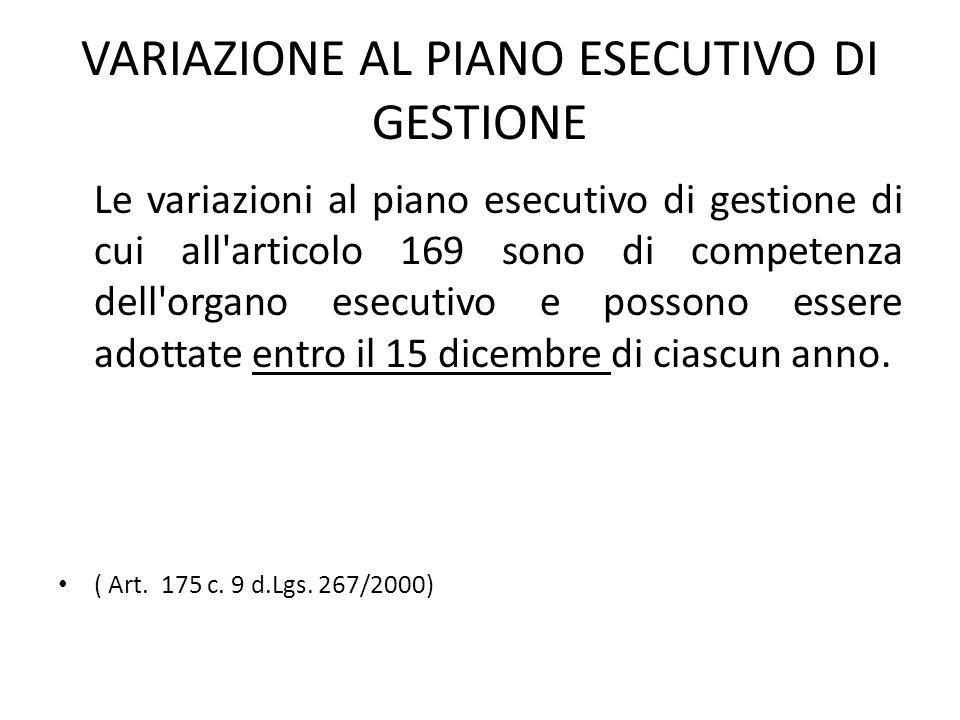 VARIAZIONE AL PIANO ESECUTIVO DI GESTIONE