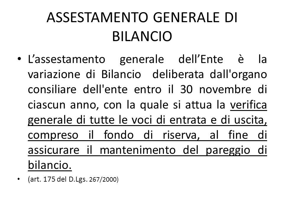 ASSESTAMENTO GENERALE DI BILANCIO