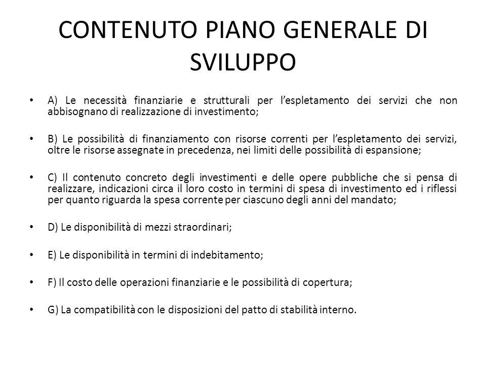 CONTENUTO PIANO GENERALE DI SVILUPPO
