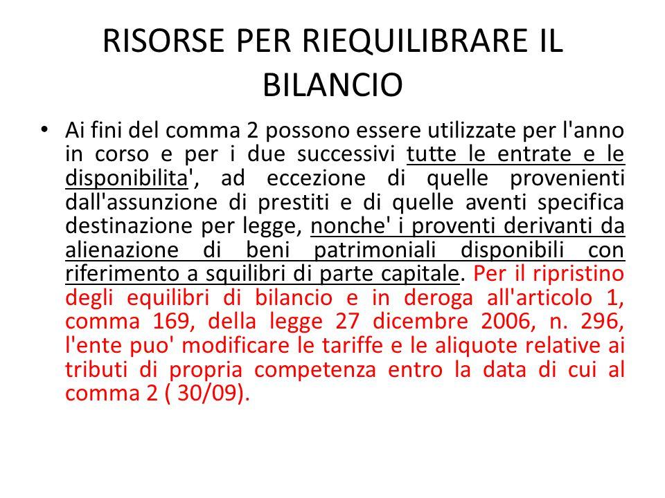 RISORSE PER RIEQUILIBRARE IL BILANCIO