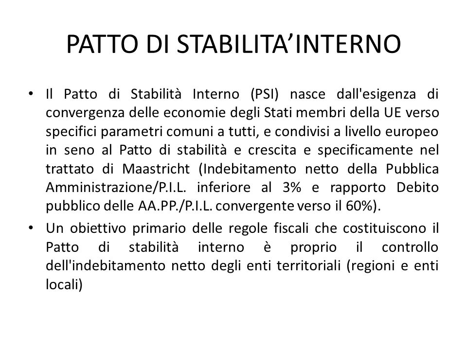 PATTO DI STABILITA'INTERNO