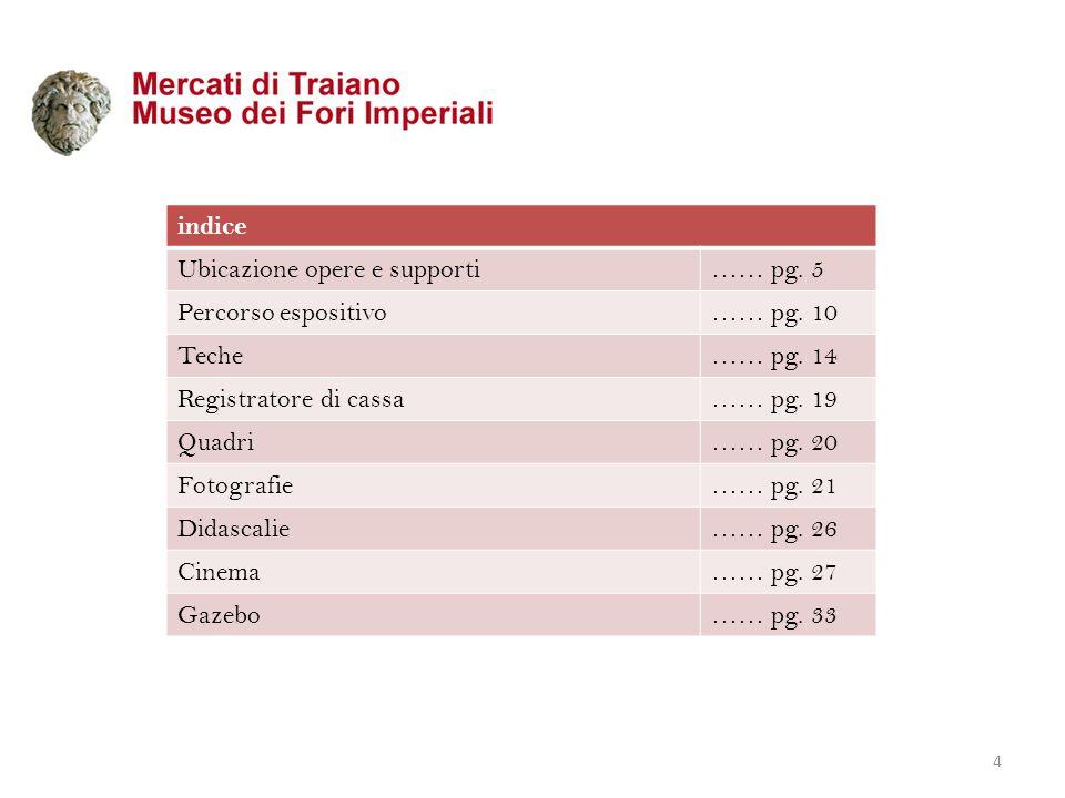 indice Ubicazione opere e supporti. …… pg. 5. Percorso espositivo. …… pg. 10. Teche. …… pg. 14.
