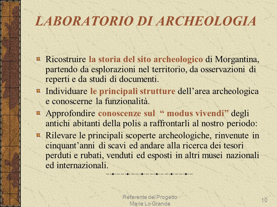 LABORATORIO DI ARCHEOLOGIA