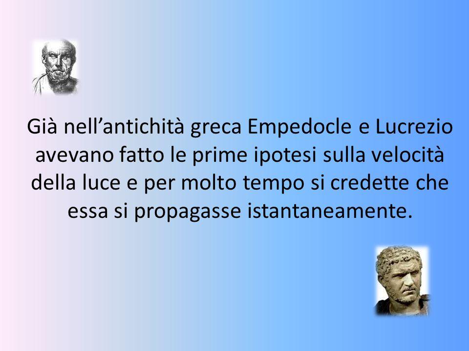 Già nell'antichità greca Empedocle e Lucrezio avevano fatto le prime ipotesi sulla velocità della luce e per molto tempo si credette che essa si propagasse istantaneamente.