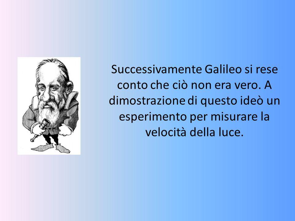 Successivamente Galileo si rese conto che ciò non era vero