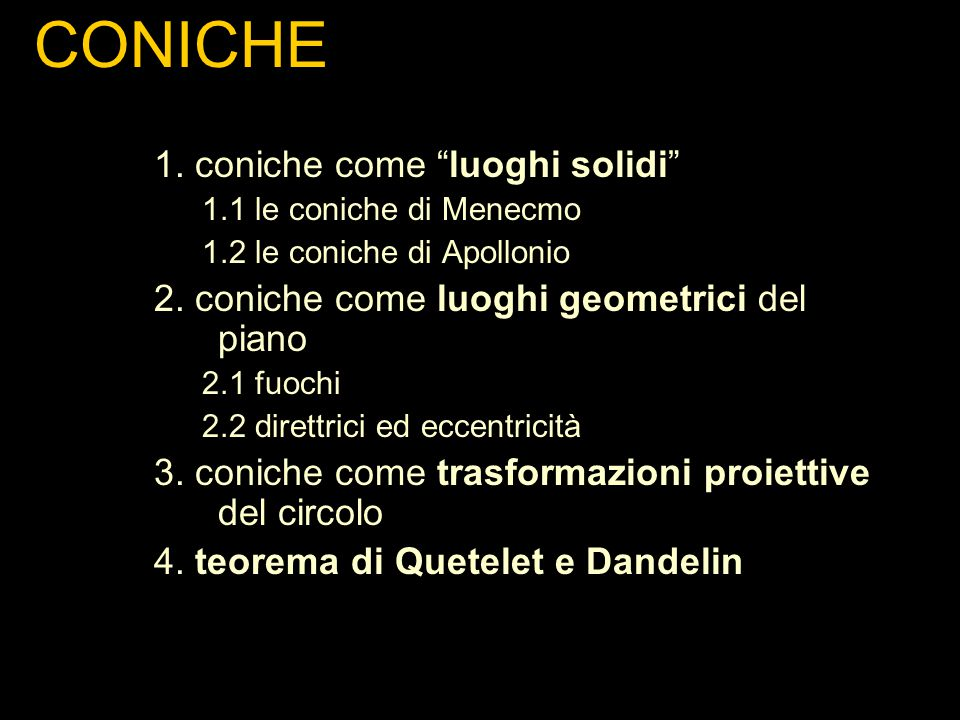 CONICHE 1. coniche come luoghi solidi