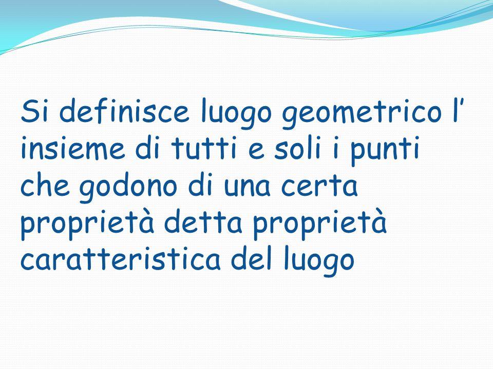 Si definisce luogo geometrico l' insieme di tutti e soli i punti che godono di una certa proprietà detta proprietà caratteristica del luogo