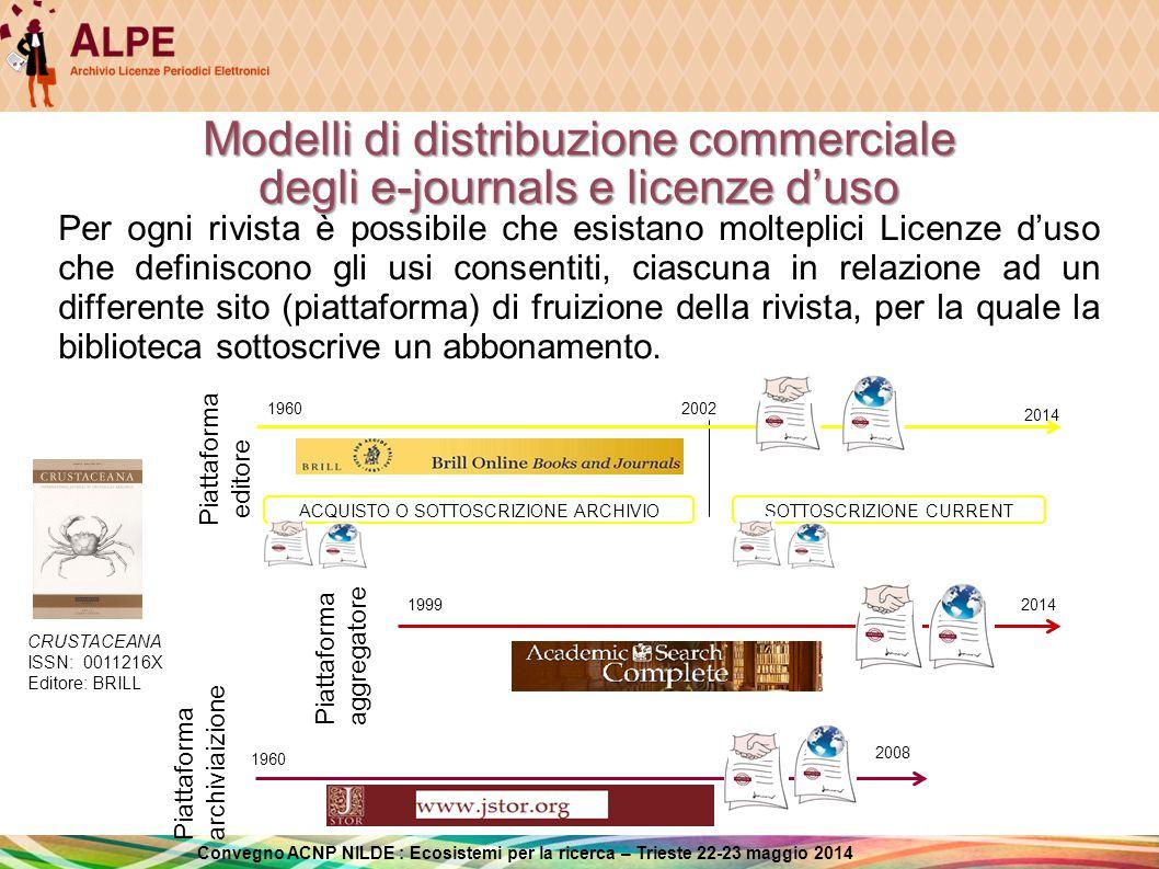 Modelli di distribuzione commerciale degli e-journals e licenze d'uso