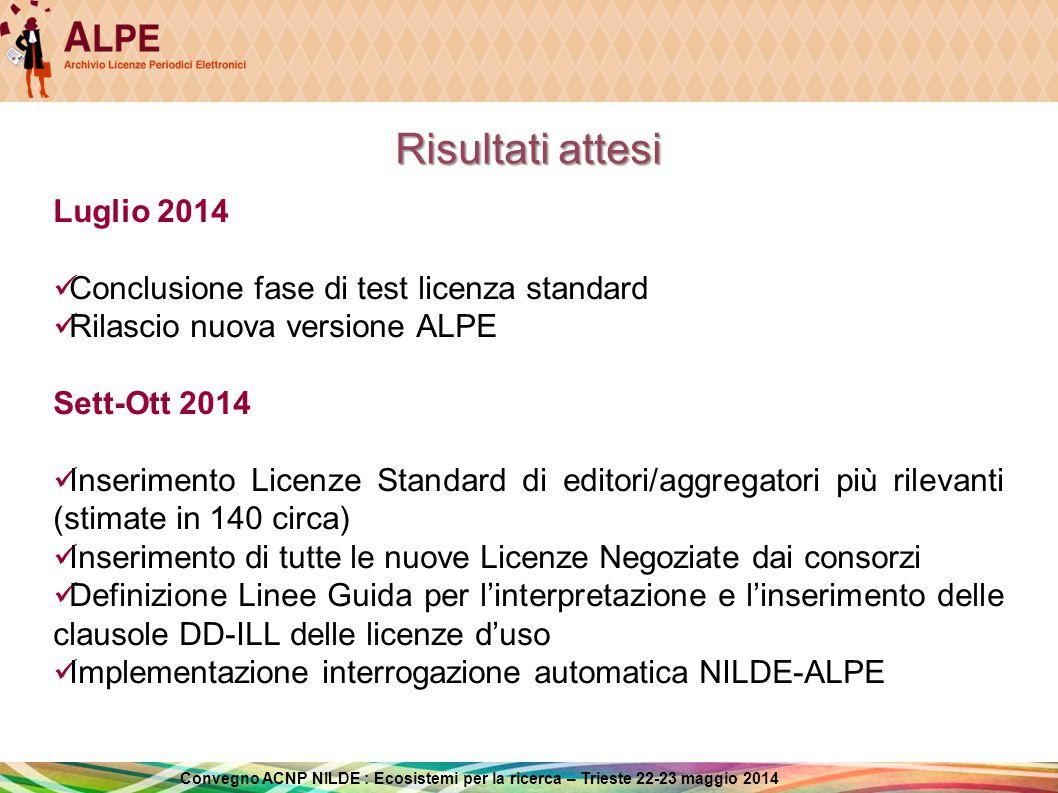 Risultati attesi Luglio 2014 Conclusione fase di test licenza standard