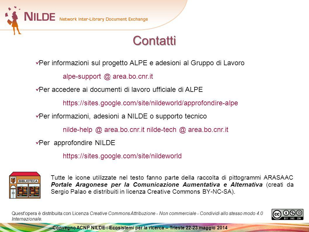 Contatti Per informazioni sul progetto ALPE e adesioni al Gruppo di Lavoro. alpe-support @ area.bo.cnr.it.
