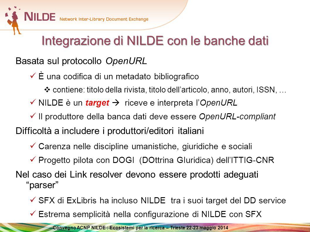 Integrazione di NILDE con le banche dati