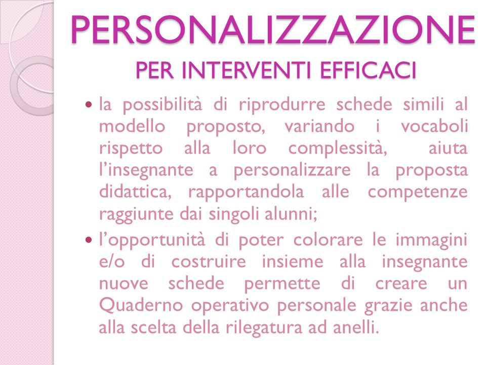 PERSONALIZZAZIONE PER INTERVENTI EFFICACI
