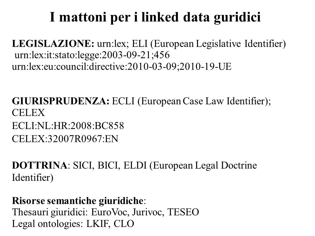 I mattoni per i linked data guridici