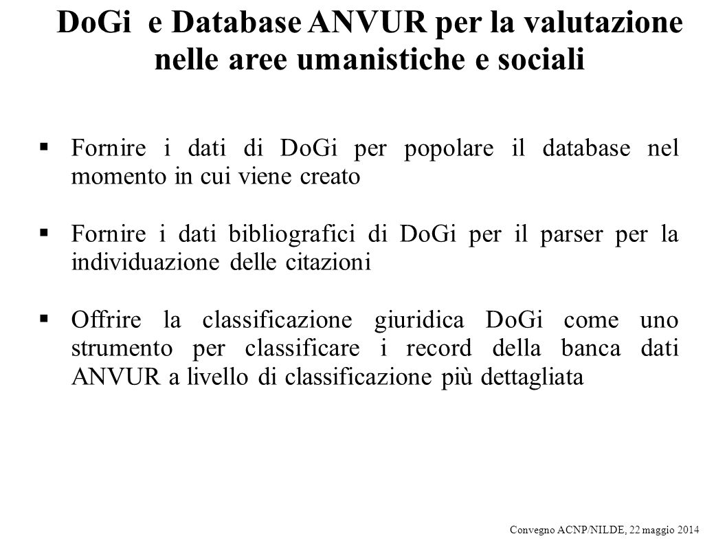 DoGi e Database ANVUR per la valutazione nelle aree umanistiche e sociali