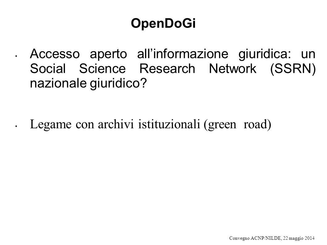 Legame con archivi istituzionali (green road)