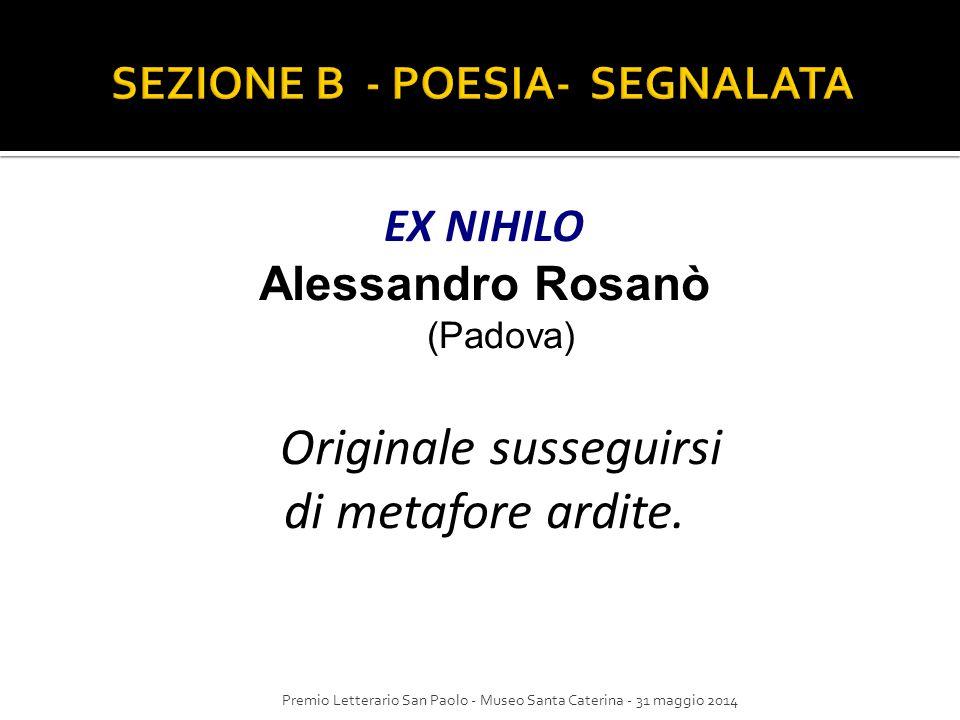 SEZIONE B - POESIA- SEGNALATA