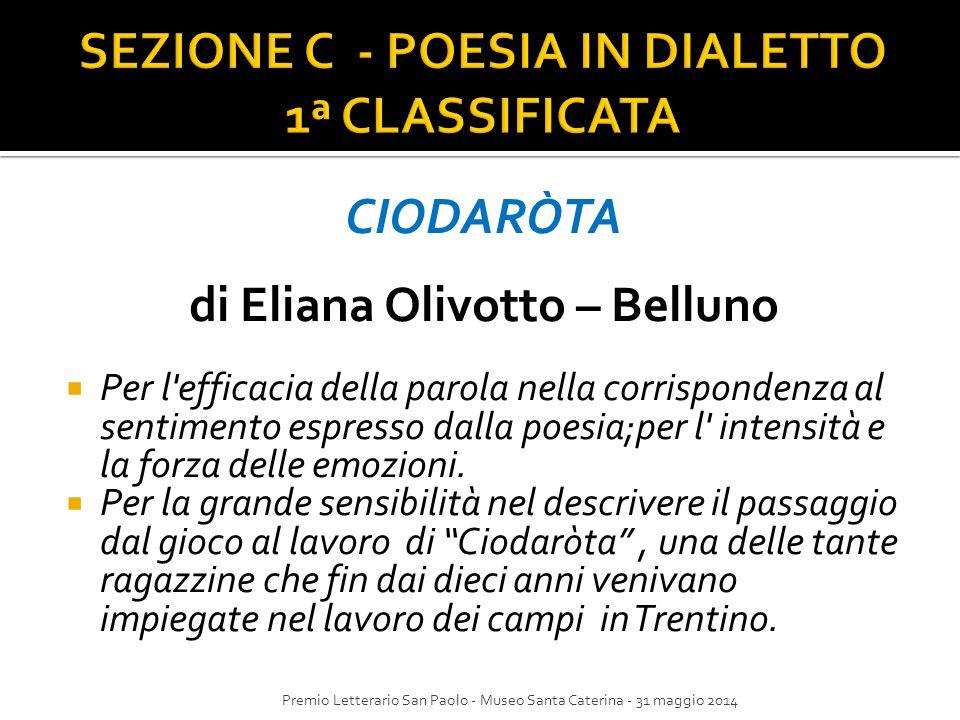 SEZIONE C - POESIA IN DIALETTO 1ª CLASSIFICATA