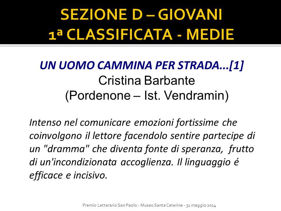 SEZIONE D – GIOVANI 1ª CLASSIFICATA - MEDIE