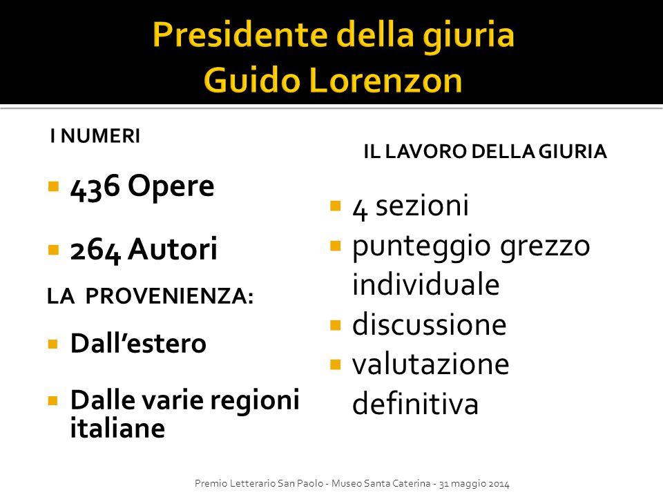 Presidente della giuria Guido Lorenzon