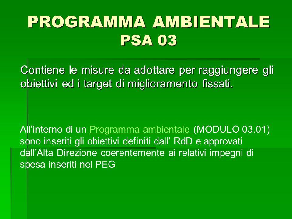 PROGRAMMA AMBIENTALE PSA 03