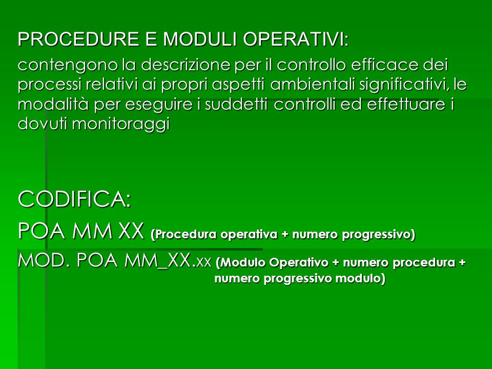 POA MM XX (Procedura operativa + numero progressivo)